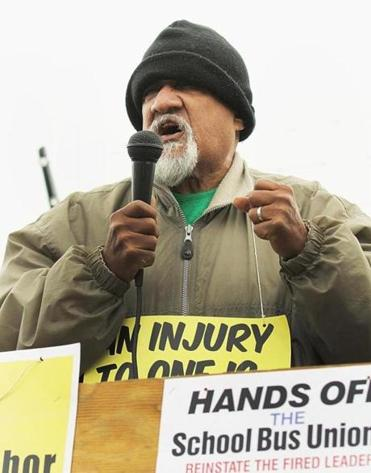 Chuck Turner, the former city councilor, voiced his support for the fired drivers at the rally.