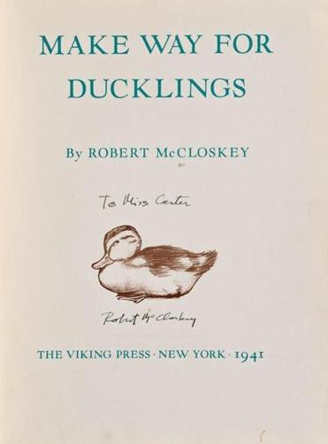 "A signed first edition of ""Make Way for Ducklings"" will be auctioned Nov. 17"