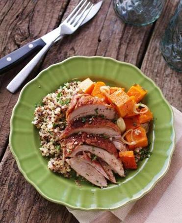 Roasted turkey thighs with butternut squash and quinoa.