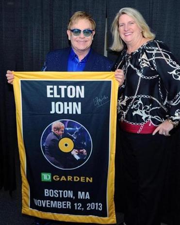 Elton John with TD Garden president Amy Latimer.