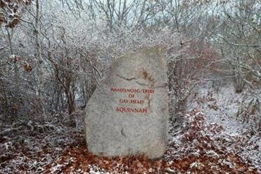 A large rock marked the entrance to the Wampanoag Tribe of Aquinnah land on Martha's Vineyard