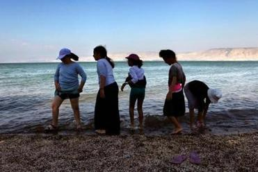 Some girls cooled off in the Sea of Galilee, Israel's main source of fresh surface water, in July.