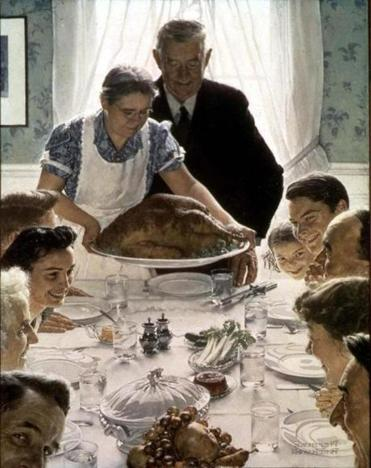 """Freedom From Want"" a 1943 painting by Norman Rockwell, whose life is recalled in ""American Mirror."""