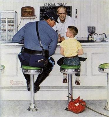 "One of the many Norman Rockwell illustrations that ran on the cover of The Saturday Evening Post: ""The Runaway"" (left) and ""After the Prom."""