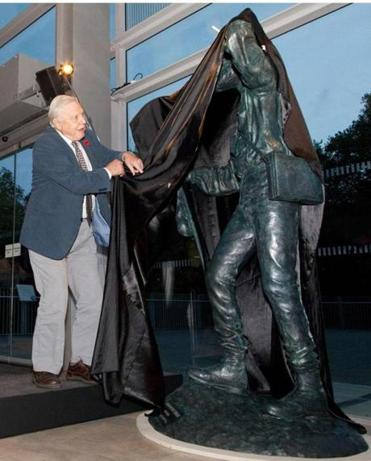 Sire David Attenborough unveiled the new statue in London.