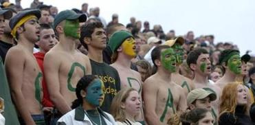 Lynn Classical High School football fans in the stands of the Manning Bowl during the annual Thanksgiving Day game between the schools.