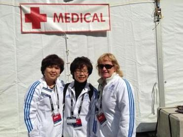 Winchester Hospital's Eun Kim (left) and Julie Christopher (right) at the Marathon medical tent.
