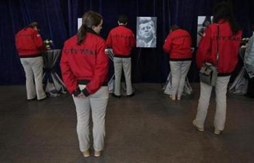 A group from City Year waited to sign the guest books at the John F. Kennedy Presidential Library, where they paid respects on the 50th anniversary of JFK's death.