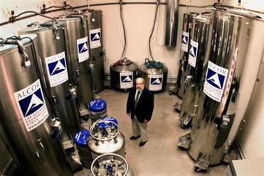 Dr. Jerry Lemler, president and CEO of Alcor in 2002, was surrounded by heads and bodies of 49 people. The main focus of cryonics is the brain.