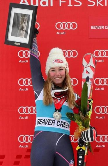 American Mikaela Shiffrin finished second at Beaver Creek in her first top-three finish in the giant slalom.
