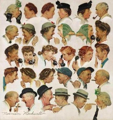 """The Gossips,"" a montage of Norman Rockwell's Vermont neighbors, brought $8.4 million, the second-highest price at Sotheby's auction of American art."
