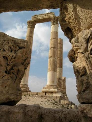 Columns and pediments form a portion of the ruins on display at the Citadel in Amman.