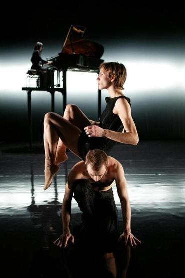 "The Boston Ballet production of Jirí Kylián's ""Tar and Feathers"" featured an onstage baby grand piano on stilts."