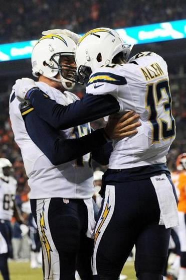 San Diego's Philip Rivers (left) hit Keenan Allen (right) for two TD passes.