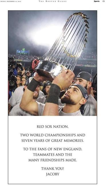 The full-page ad Jacoby Ellsbury placed in Friday's Globe.