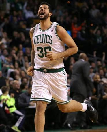 Vitor Faverani let out a howl after making a 3-pointer against the Knicks on Dec. 13, 2013.