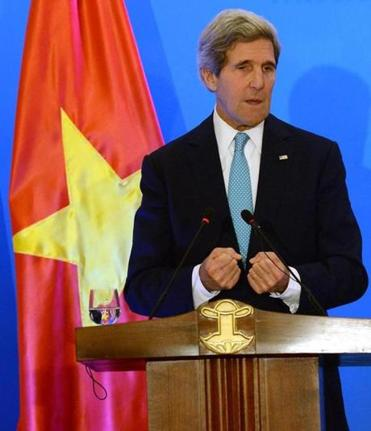 """Peace and stability . . . is a top priority"" for the United States and the region, John F. Kerry said."