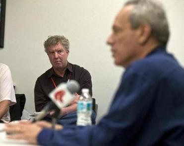 Dan Shaughnessy listened as Red Sox CEO Larry Lucchino held a news conference in February.