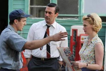 "From left: Lucius Baybak, Jon Hamm, and January Jones in the ""Mad Men"" episode ""The Better Half."""
