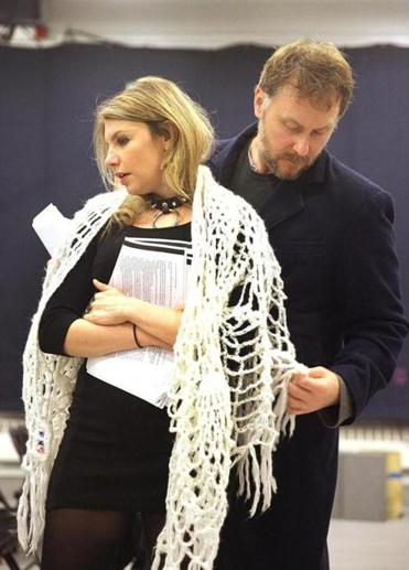 "Andrea Syglowski and Chris Kipiniak in rehearsal for ""Venus in Fur."" Below: playwright David Ives."