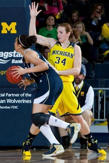 Val Driscoll, a 6-4 center, provides an inside presence for Michigan.