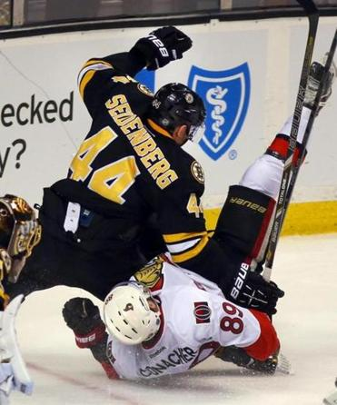 "Dennis Seidenberg felt his knee ""click"" when he got tangled up with Cory Conacher; it was a torn right ACL/MCL."