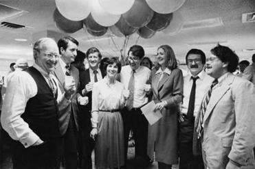 Thomas Winship, Bill Taylor, Sandy Hawes, Joan Venocchi, Nils Brazelius, Ellen Goodman, Steve Kurkjian, and Bill Henry celebrated a Pulitzer Prize for Special Local Reporting for investigation of the MBTA in 1980.