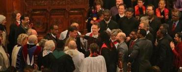 Assembled clergy laid their hands on Martin J. Walsh and prayed at Old South Church on Sunday. More than 15 members of clergy from houses of worship across the city spoke.