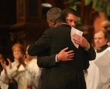 Walsh embraced the Rev. Jeffrey L. Brown at the service. The mayor-elect was joyful and joking, reverent and reflective