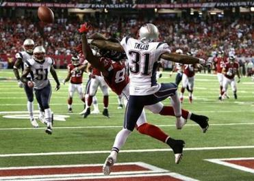 Aqib Talib made a game-saving play, breaking up a pass intended for Roddy White late in the fourth quarter.