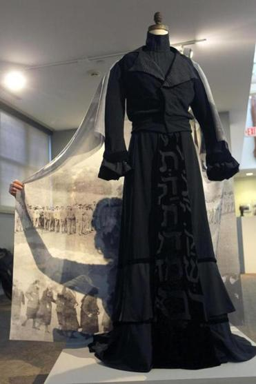 "Works on display in ""Blood Memory"" by artist Lisa Rosowsky include a hand-stitched garment the artist made to fit herself."