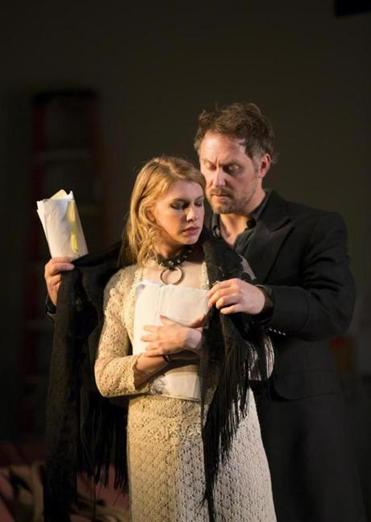 "Andrea Syglowski and Chris Kipiniak in the Huntington Theatre Company's production of ""Venus in Fur."""