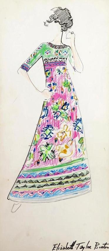"Karl Lagerfeld's sketch of an ankle-length dress in 1960s Pop Art colors marked ""Elizabeth Taylor Burton"" sold for $2,520 at Palm Beach Modern Auctions' sale of the ""Tiziani: Lagerfeld + Liz'' archive."