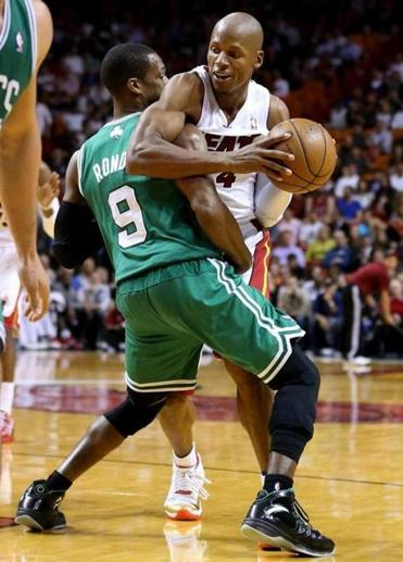 Rajon Rondo bumped into old friend Ray Allen in Tuesday's night game in Miami.J Robert Mayer-USA TODAY Sports