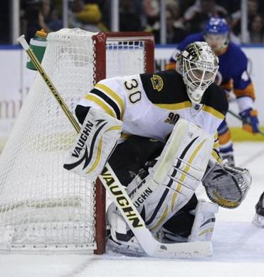Bruins goalie Chad Johnson got the win between the pipes Monday against the Islanders.