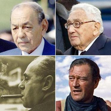 Patients of DeSanctis have included (clockwise from top left) King Hassan II of Morrocco, Henry Kissinger, John Wayne, and Red Auerbach.