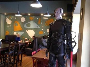 A Captain Picard-as-Borg mannequin greets visitors at the door to the Flying Saucer Pizza restaurant in Salem.