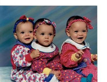 The triplet sisters as babies (from left): Amy, Sara, and Amanda.