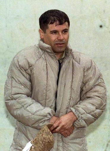 "In this 1993 file photo, Mexican drug lord Joaquin ""El Chapo"" Guzman was shown to the press at the Almoloya de Juarez, a high security prison on the outskirts of Mexico City."
