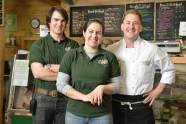 Volante Farms owners, siblings Steve Volante and Teri Boardman Volante, with head chef Todd Heberlein.