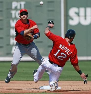 Mike Napoli is forced at second base by Brian Dozier of Twins in a double play. (Jim Davis/Globe Staff)