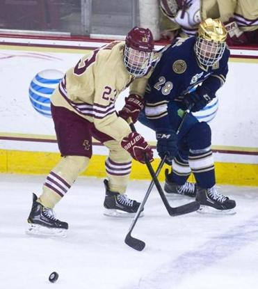 BC's Patrick Brown (left) and Notre Dame's Stephen Johns jostle while pursuing the puck.
