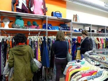 Shoppers perused the racks at Buffalo Exchange in Davis Square.