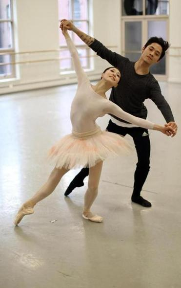 "Misa Kuranaga and Jeffrey Cirio during a Boston Ballet rehearsal of a new production of ""Cinderella."" Kuranaga dances the title role, and Cirio is the Prince."