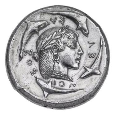 "The world-famous Greek coin ""Dekadrachm of Syracuse with quadriga."""