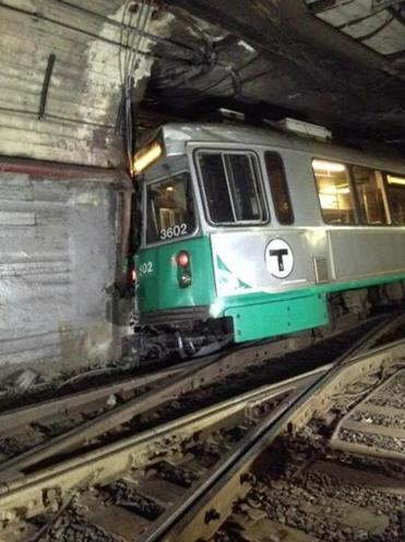 A look at the Green Line train that derailed west of Kenmore Station.