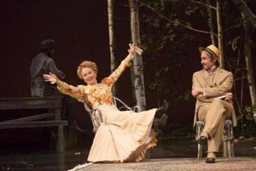 "Kate Burton and Marc Vietor in the Huntington Theatre production of ""The Seagull."""