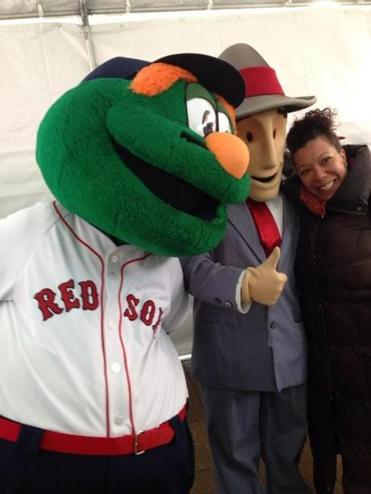 "Red Sox mascot ""Wally the Green Monster"" posed with MBTA mascot ""Charlie."""