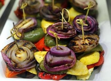 Canton-03/21/14-The Butcherie ll in Canton is owned by Lisa and Josh Ruboy. A platter of roasted eggplant topped with roasted onions and peppers. Boston Globe staff photo by John Tlumacki (lifestyle)