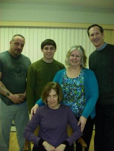 "Cast members for ""The Waverly Gallery"" (standing, from left): John Marzelli, Christopher  Cartier, Jane Cartier, and Ken Carberry; seated is Susan Wing Markson."